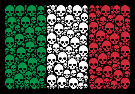 Italian national flag flat collage combined of skull icons on a black background. Vector skull pictograms are grouped into conceptual Italy flag illustration.