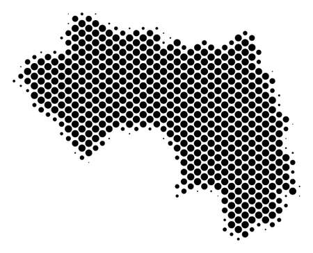 Abstract African Guinea map. Vector halftone territorial plan. Cartographic pixel concept. Schematic African Guinea map is composed from regular sphere item mosaic.