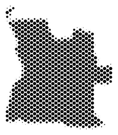 Abstract Angola map. Vector halftone geographical scheme. Cartographic dotted concept. Schematic Angola map is constructed from regular round point pattern. Illustration