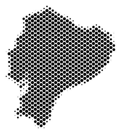 Abstract Ecuador map. Vector halftone geographic scheme. Cartographic dotted concept. Schematic Ecuador map is shaped from regular circle dot mosaic.