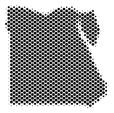 Abstract Egypt map. Vector halftone territory plan. Cartographic dot concept. Schematic Egypt map is shaped from regular spheric item pattern.