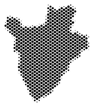 Abstract Burundi map. Vector halftone geographical scheme. Cartographic dot composition. Schematic Burundi map is created with regular round element grid.