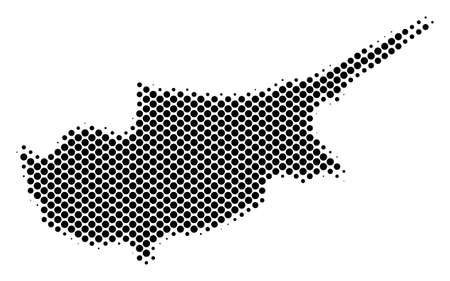 Abstract Cyprus Island map. Vector halftone geographical plan. Cartographic dot composition. Schematic Cyprus Island map is made with regular round spot mosaic. Illustration