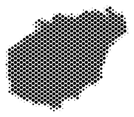Abstract Hainan Island map. Vector halftone geographical plan. Cartographic dotted abstraction. Schematic Hainan Island map is created from regular spheric item array. Illustration