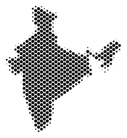 Abstract India map. Vector halftone territorial scheme. Cartographic dotted concept. Schematic India map is made of regular spheric cell grid.