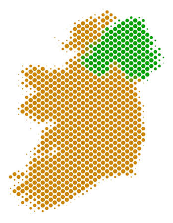 Abstract Ireland countries map. Vector halftone geographic plan. Cartographic pixelated abstraction. Schematic Ireland countries map is designed with regular circle dot matrix. Illustration