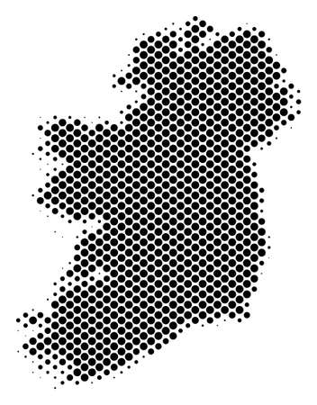 Abstract Ireland Island map. Vector halftone territorial scheme. Cartographic pixelated abstraction. Schematic Ireland Island map is created from regular sphere cell array.