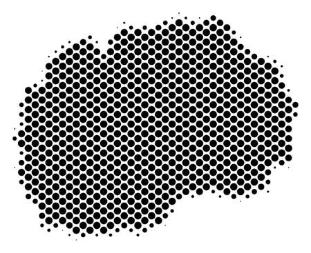 Abstract Makedonia map. Vector halftone geographic scheme. Cartographic pixel composition. Schematic Makedonia map is shaped of regular circle point array. Illustration