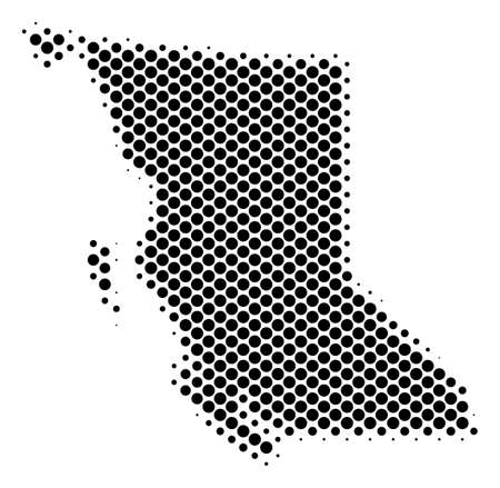 Abstract British Columbia Province map. Vector halftone geographical scheme. Cartographic pixelated abstraction.