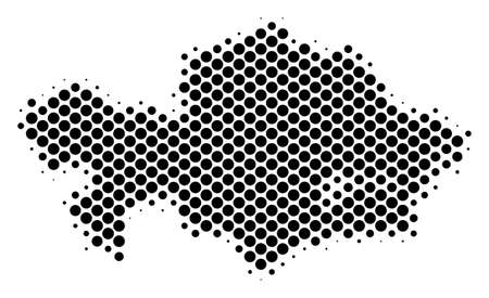 Abstract Kazakhstan map. Vector halftone geographic plan. Cartographic dotted concept. Schematic Kazakhstan map is shaped from regular sphere dot mosaic.