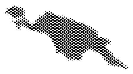 Abstract New Guinea Island map. Vector halftone territory plan. Cartographic pixel composition. Schematic New Guinea Island map is made of regular circle item pattern.