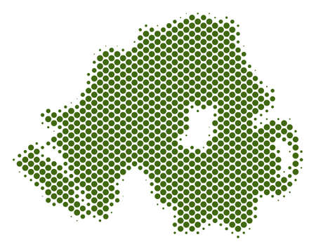 Abstract Northern Ireland map. Vector halftone territorial plan. Cartographic pixel concept. Schematic Northern Ireland map is formed with regular sphere element mosaic.