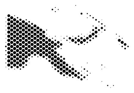 Abstract Papua New Guinea map. Vector halftone territorial plan. Cartographic pixelated composition. Schematic Papua New Guinea map is shaped with regular circle item grid.