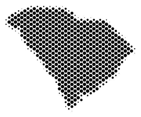 Abstract South Carolina State map. Vector halftone territorial scheme. Cartographic dot composition. Schematic South Carolina State map is made with regular sphere cell grid. Çizim