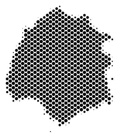 Abstract Thassos Greek Island map. Vector halftone territory plan. Cartographic pixelated composition. Schematic Thassos Greek Island map is made with regular round cell grid.