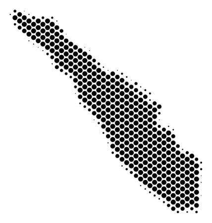 Abstract Sumatra Island map. Vector halftone territorial scheme. Cartographic dot composition. Schematic Sumatra Island map is designed with regular round cell pattern.