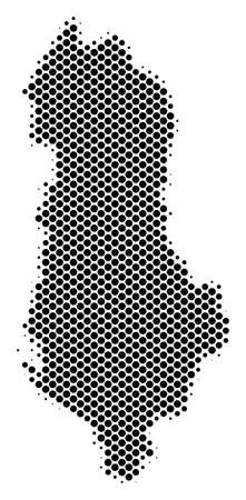 Abstract Albania map. Vector halftone territory scheme. Cartographic dot composition. Schematic Albania map is composed from regular round point matrix.