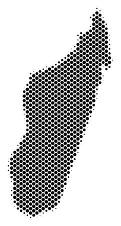 Abstract Madagascar Island map. Vector halftone geographical scheme. Cartographic pixelated abstraction. Schematic Madagascar Island map is composed from regular spheric spot matrix.