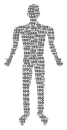 100 text human avatar. Vector 100 text icons are organized into human collage.