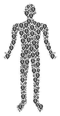 Banking map marker human representation. Vector banking map marker icons are united into man mosaic. Illustration