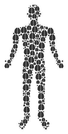 Brain man representation. Vector brain icons are combined into male combination. Illustration