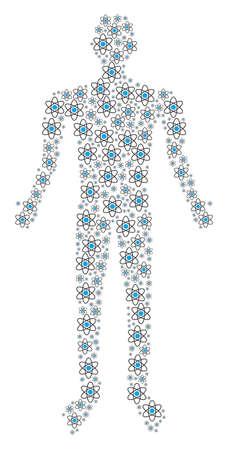 Atom person representation. Vector atom icons are united into man mosaic.