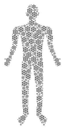 Boat steering wheel human avatar. Vector boat steering wheel icons are organized into human mosaic.