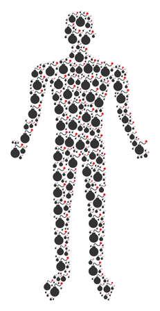 Bomb man representation. Vector bomb icons are organized into man combination.
