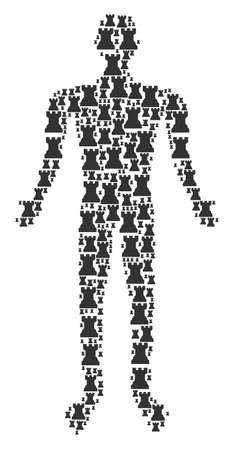 Chess tower human representation. Vector chess tower icons are composed into man composition. Illustration