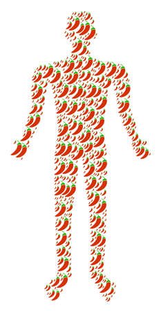 Chili pepper human avatar. Vector chili pepper icons are composed into human composition. Illustration