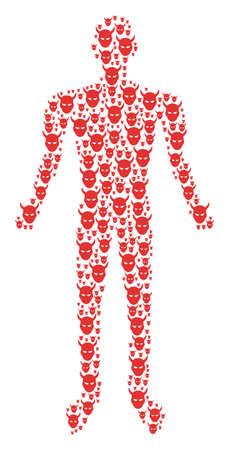 Demon head human representation. Vector daemon head icons are arranged into male mosaic. Ilustração