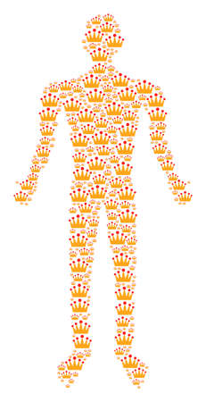 Crown man figure. Vector crown icons are organized into person illustration.