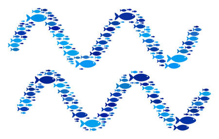 Fish sinusoid waves composition in blue color shades. Vector fish items are composed into sinusoid waves collage. Seafood design concept. Illustration