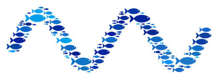 Fish sinusoid wave collage in blue color tones. Vector fish items are combined into sinusoid wave composition. Nautical design concept.