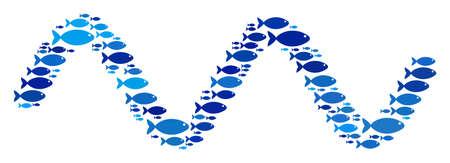 Collage di onde sinusoidali di pesce nei toni del blu. Gli elementi di pesce vettoriali vengono combinati nella composizione di onde sinusoidali. Concetto di design nautico.