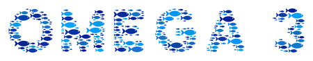 Fish Omega 3 text composition in blue color tones. Vector fish icons are combined into Omega 3 text composition. Organic abstract design.