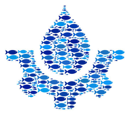 Fish water drop service cog collage in blue color tinges. Vector fish pictograms are composed into water drop service cog composition. Organic abstract design.