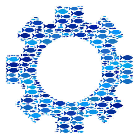 Fish gear mosaic in blue color hues. Vector fish pictograms are united into gear collage. Eco abstract design. 向量圖像