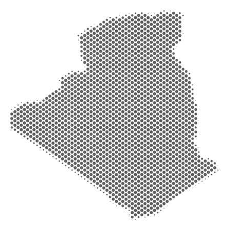 Schematic Algeria map. Vector halftone geographical plan. Grey pixel cartographic concept. Abstract Algeria map is composed of regular sphere spot grid.