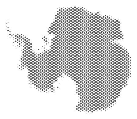 Schematic Antarctica map. Vector halftone territory plan. Grey pixelated cartographic composition. Abstract Antarctica map is made from regular spheric spot matrix.