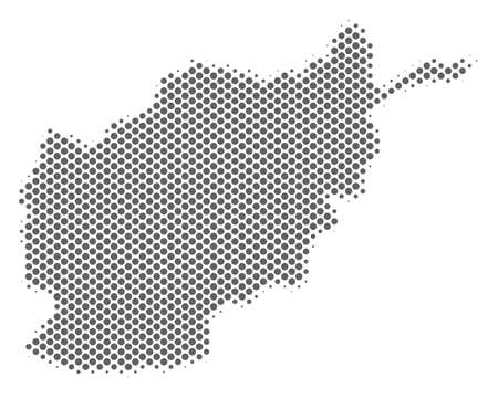 Schematic Afghanistan map. Vector halftone geographical abstraction. Silver pixel cartographic composition. Abstract Afghanistan map is composed from regular spheric cell grid.