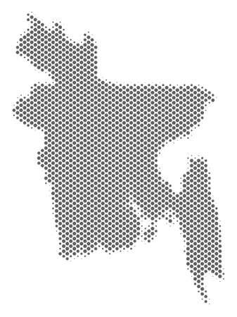 Schematic Bangladesh map. Vector halftone geographic plan. Gray pixelated cartographic concept. Abstract Bangladesh map is shaped from regular round dot matrix.