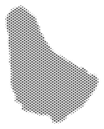 Schematic Barbados map. Vector halftone geographical plan. Gray pixelated cartographic composition. Abstract Barbados map is created with regular round cell mosaic. Illustration