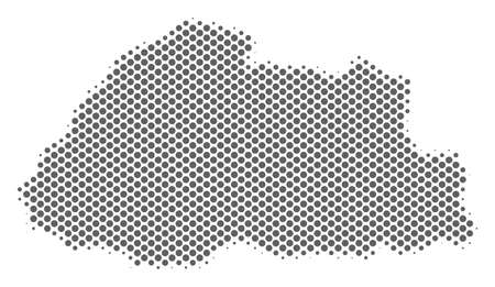 Schematic Bhutan map. Vector halftone geographical abstraction. Grey pixelated cartographic concept. Abstract Bhutan map is constructed of regular round spot array.