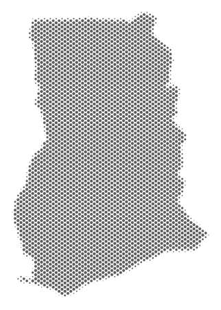 Schematic Ghana map. Vector halftone territorial abstraction. Gray pixel cartographic composition. Abstract Ghana map is created with regular circle cell mosaic.