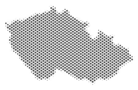 Schematic Czech map. Vector halftone geographical scheme. Silver dot cartographic concept. Abstract Czech map is created from regular circle item mosaic.