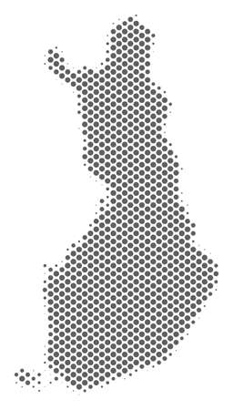 Schematic Finland map. Vector halftone territory abstraction. Grey dot cartographic concept. Abstract Finland map is made from regular circle cell mosaic.