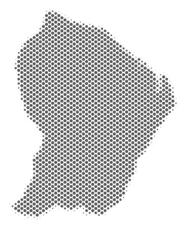 Schematic French Guiana map. Vector halftone territorial scheme. Silver pixel cartographic composition. Abstract French Guiana map is constructed from regular circle cell grid.