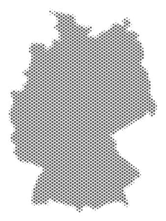 Schematic Germany map. Vector halftone territory scheme. Gray dot cartographic concept. Abstract Germany map is made with regular spheric spot matrix.