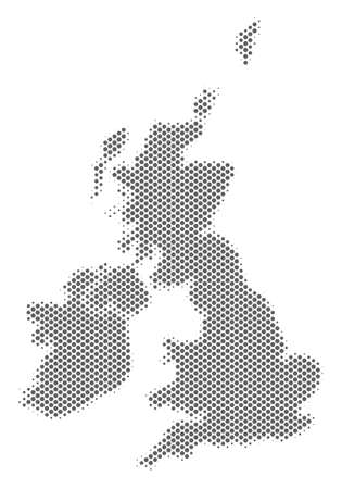 Schematic Great Britain and Ireland map. Vector halftone geographical plan. Grey pixelated cartographic concept. Abstract Great Britain and Ireland map is composed from regular spheric spot mosaic.